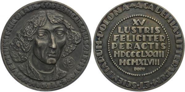 AE Medaile 1948 - Mikuláš Koperník, školní medaile, bilý kov, 60 mm (105,6 g)