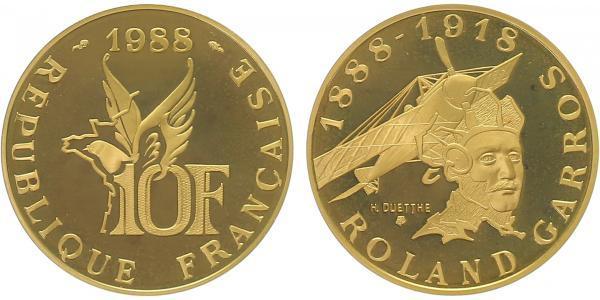 Francie, 10 Frank 1988, Roland Garros, Au 0,920, PROOF