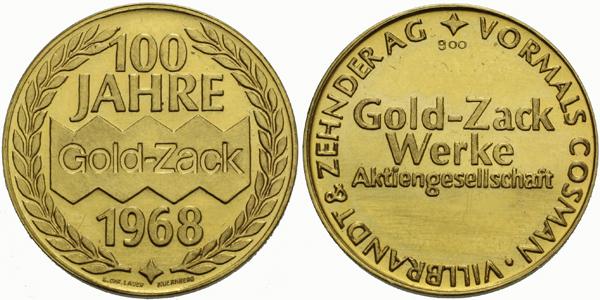 Německo, Medaile 1968 - 100 let firmy Gold-Zack, b.k.