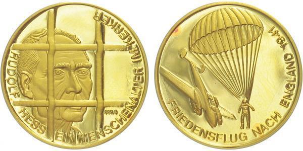 Německo, Medaile b.l. - Rudolf Hess - mírový let 1941, PROOF