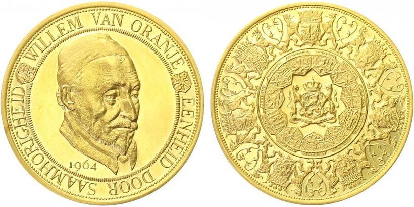 Nizozemí, medaile 1964 - Vilém Oranžský, PROOF