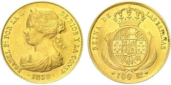 Španělsko, 100 Real 1859, Sevilla, Au 0,900, 22 mm (8,33 g)