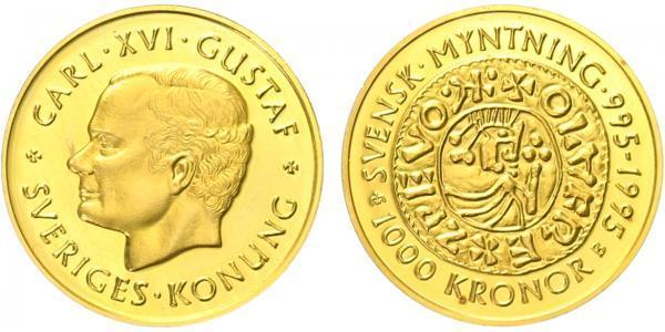 Švédsko, 1000 Kronor 1995 - 1000. výročí švédského mincovnictví, Au 0,900 (5,80 g)