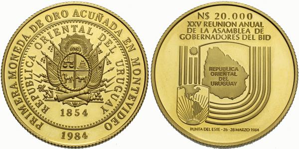 Uruguay, 20000 Nuevo Pesos 1984 - 130. výročí zlaté měny a 25. výročí setkání guvernérů